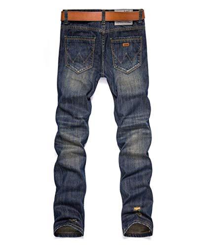 Attillati Dunkelblau Uomo Attillati Pantaloni Da Denim Strappati Comodo Jeans Battercake Strappati x6qgv076w