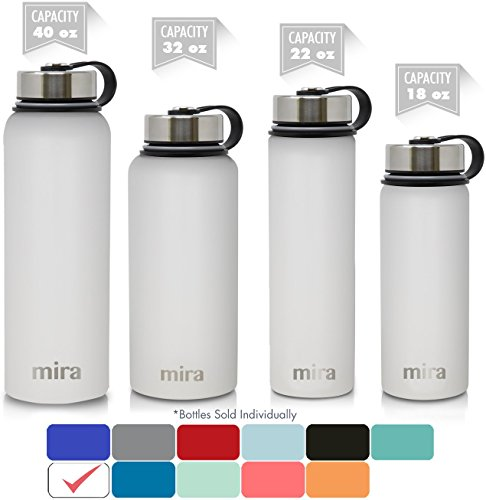 MIRA 32 Oz Stainless Steel Vacuum Insulated Wide Mouth Water Bottle | Thermos Keeps Cold for 24 hours, Hot for 12 hours | Double Wall Powder Coated Travel Flask | White