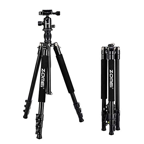 Zomei Q555 Lightweight Travel Aluminum Tripod for Nikon Sony Cacon DSLR Camera with Ball Head Carrying Bag (Black)