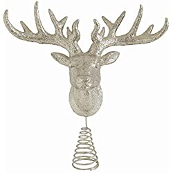 Creative Co-Op XM2543 13 Inch Plastic Deer Head Tree Topper, Champagne Glitter