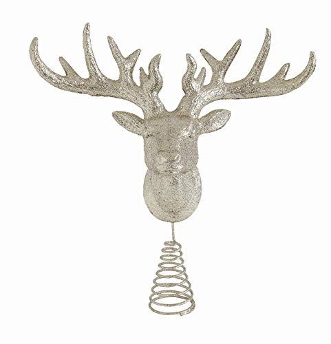 Creative Co-Op 13 Inch Plastic Deer Head Tree Topper, Champagne Glitter, Multicolor