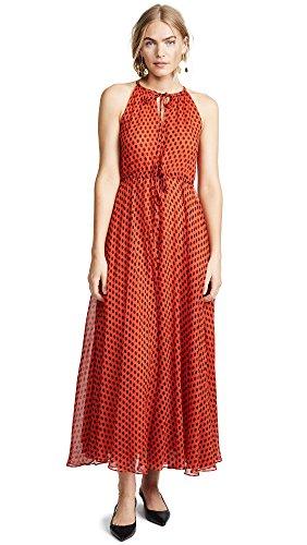 Diane von Furstenberg Women's Keyhole Maxi Dress, Baker Dot Small Vermillion, (Keyhole Dots)