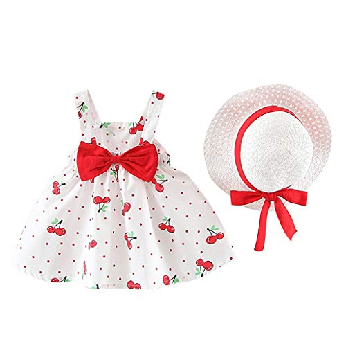WOCACHI Toddler Baby Kids Girls Sleeveless Cherry Dot Princess Dresses Bow Hat Outfits Back to School Father's Day Children's Day July 4th Pregnant Woman Love You 3000 Times ()