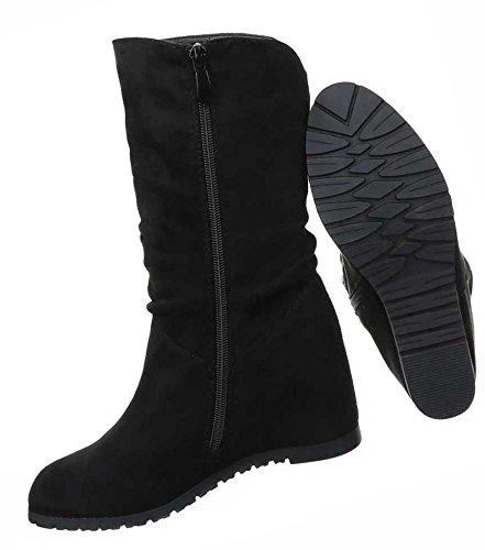 38 Keil 35 41 37 39 Damen Wedges 36 Schwarz Schwarz Grau Boots Schuhe 40 Stiefel nvwCHx