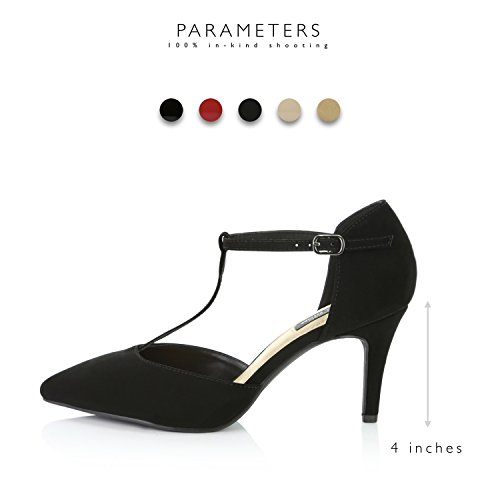 Shoes Pointed strap DailyShoes Black Nubuck T Strap Heel Comfortable T Toe Pumps High Women's Pu EBPnBqz