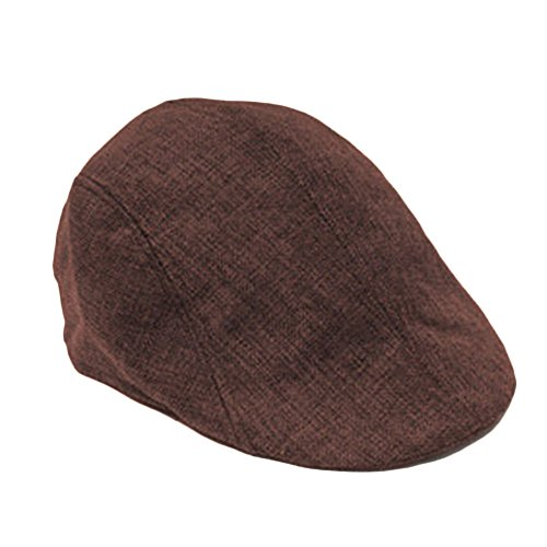 YING LAN Men's Herringbone Tweed Newsboy Cabbie Driving Hat Golf Cap Dark Brown