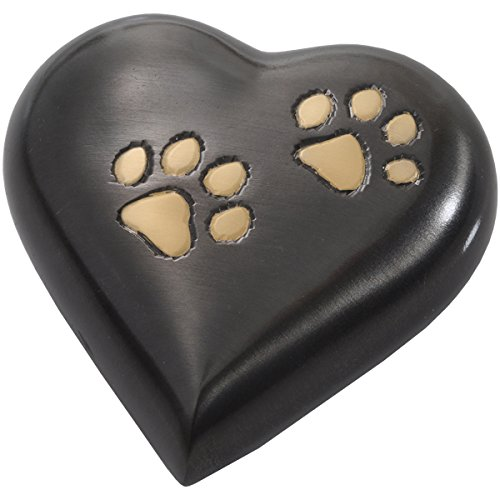 - Memorial Gallery Pets 8351G-gunmetal Brass Paws Gun Metal Heart with Brass Paw Print Pet Urn Keepsake