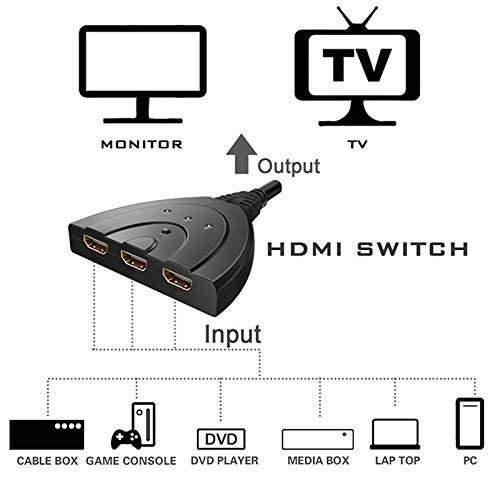 Haihuic Commutateur HDMI R/épartiteur HDMI 3 Ports 1080P 3 en 1 sur Prise en Charge du Lecteur 3D Compatible avec TV 4K Fire Stick HDTV PS4 Consoles de Jeux PC