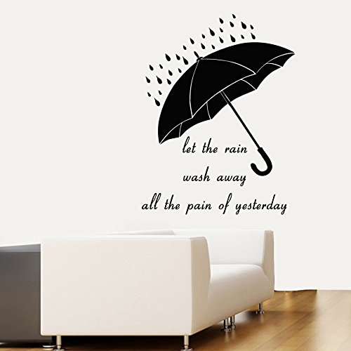 Wall Decals Quote Let The Rain Wash Away All The Pain Of Yesterday Umbrella Home Vinyl Decal Sticker Kids Nursery Baby Room Decor