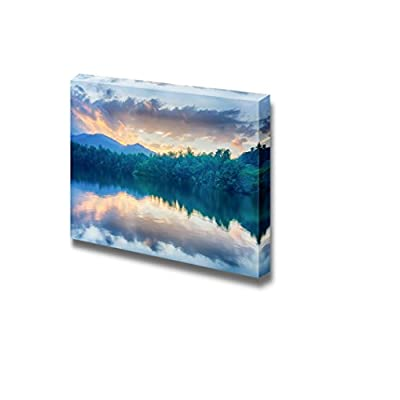 Beautiful Scenery Landscape Sunset at Lake Santeetlah in Great Smoky Mountains - Canvas Art Wall Art - 32