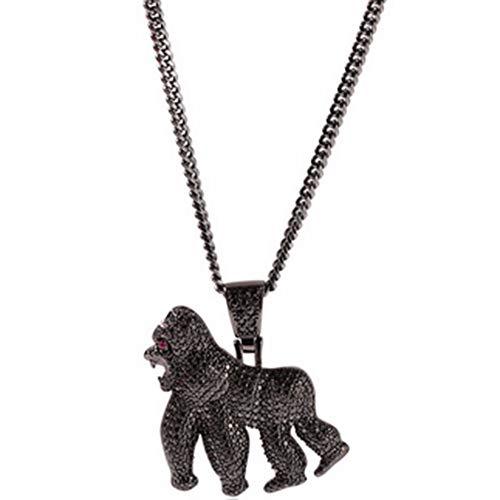 Crystalla Hip-hop Zircon Necklace/King Kong Roar Gorilla Pendant/Walking Gorilla Ornament -