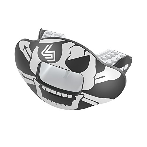 (Shock Doctor Max Airflow 2.0 Lip Guard / Mouth Guard. Football Mouthguard 3500. For Youth and Adults OSFA. Breathable Wide Opening Mouthpiece. Helmet Strap Included.)