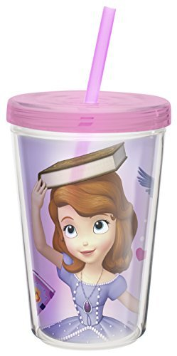 Zak! Designs Insulated Tumbler with Screw-on Lid and Straw featuring Sofia the First, Break-resistant and BPA-free Plastic, 13 oz. by Zak Designs -