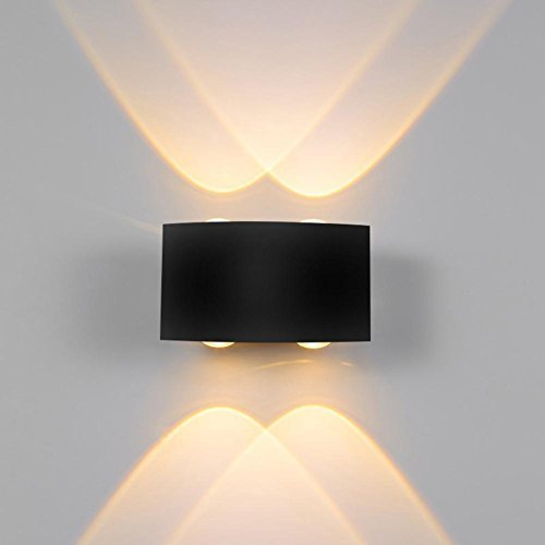 VKTECH LED Wall Sconce Lamp ​IP65 Waterproof Bedside Spot Light for Garden Hallway Staircase Corridor Bedroom Living Room Decor, Warm White, 4W Black