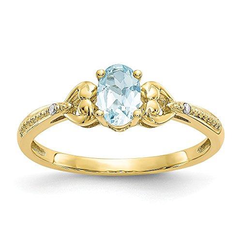 10k Yellow Gold Polished Open back Aquamarine Diamond Ring ()