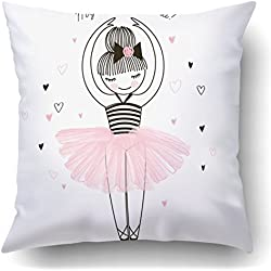 Soksar Throw Pillow Cover Cute Little Ballerina Doodle Nursery Home Sofa Decor Square 16x16 Inch Zipper Cushion Decorative Print Pillowcase Design Two Side