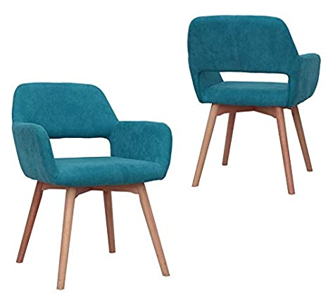 Excellent Modern Design Fabric Accent Chair Dining Chair W Solid Wood Leg Living Room Blue Set Of 2 Ibusinesslaw Wood Chair Design Ideas Ibusinesslaworg