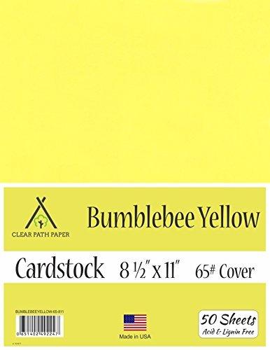 Bumblebee - Cartulina amarilla de 21,6 x 27,9 cm – 65 lb cubierta, amarillo, (Bumblebee Yellow), 8.5 x 11 Inch - 50 Sheets,...