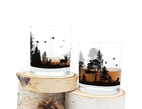 Whiskey Glasses - Forest Animals - Set of Two 11oz. -