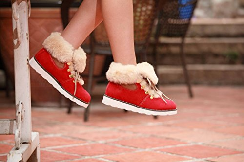 Ausland Womens Leisure Sheepskin Short Boot 9158 Red wWTdxLjE
