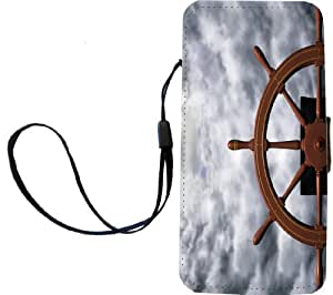 Rikki KnightTM Ships Wheel Riding the Storm Design PU Leather Wallet Type Flip Case with Magnetic Flap and Wristlet for Apple iPhone 5 &5s