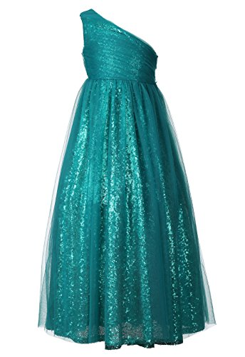 Happy Rose Flower Girl Dresses Maxi Long Sequins Tulle Pageant Dress for Party Peacock Blue 6 ()