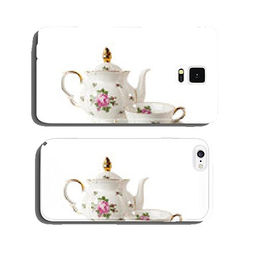 Porcelain teapot, teacup and saucer with rose cell phone cover case Samsung S5