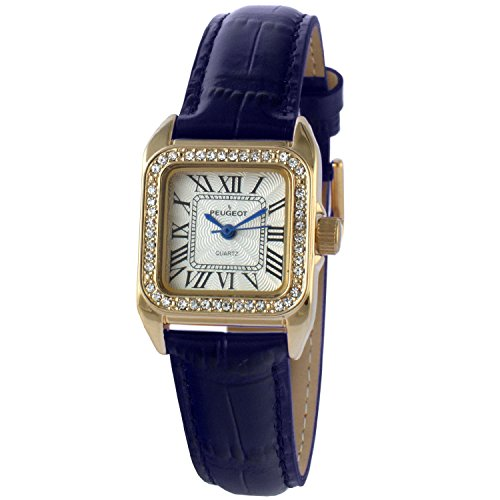 Peugeot Womens 14K Gold Plated Square Tank Petite Small Blue Leather Band Luxury Dress Watch 3052BL (14k Gold Watch Leather Strap)