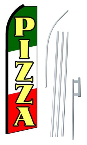 "NEOPlex - ""Pizza"" Complete Flag Kit - Includes 12' Swooper Feather Business Flag With 15-foot Anodized Aluminum Flagpole AND Ground Spike"