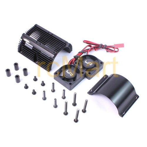 (Yeah Racing Heat Sink with Twin Tornado High Speed Fans sets for 1:8 Motors with around 40.8mm diameter)
