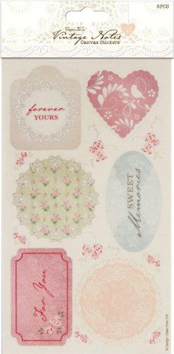 (Papermania Vintage Notes Canvas Stickers 6/Pkg 1 pcs sku# 1773945MA)