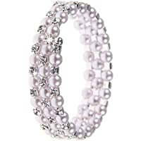 Fashion Women Pearl Crystal Cuff Bangle Wedding Bridal Wristband Bracelet 3 Rows