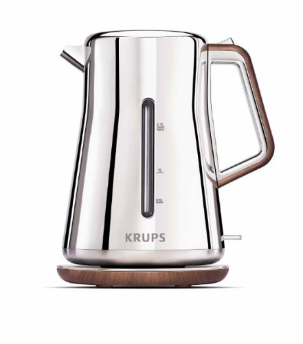 KRUPS BW600 Silver Art Collection Cordless Electric Kettle with Chrome Stainless Steel Housing, Silver