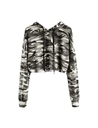 Sumen Hoodies Women Camouflage Pullover Sweatshirt Long Sleeve Crop Tops