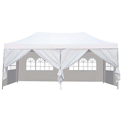 Klismos 10x20 Pop up Canopy Tent Outdoor Party Wedding Gazebos with Sidewalls White