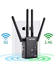 WAVLINK WiFi Range Extender AC1200 Wireless Router/AP Access Point/WiFi Extenders Signal Booster/Range Extender with Dual Band 5Ghz 2.4Ghz 1200Mbps Works Any Router