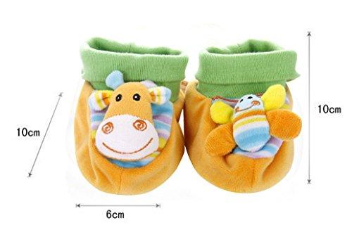 HappyCherry® Für 0-1 Jahre alt Baby Süß Tiere Plüsch Lauflernschuhe mit Rassel Giraffe&Biene