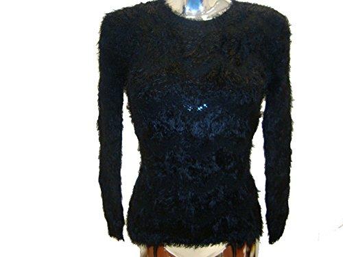 Patrón señoras de las mujeres Zig-Zag cuello redondo mullido Furia de invierno Primeros Jumper mangas largas Black