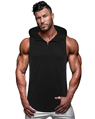 (COOFANDY Men's Workout Hooded Tank Tops Sleeveless Gym Hoodie Cut Off T Shirt Lace-up Bodybuilding Muscle Hoodie (XXL(US X-Large), Type 2-Black) )