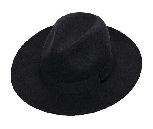 Brim Homburg - East Majik Wide Brim Elegant Homburg Hat - Black