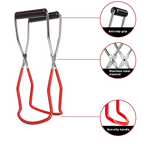 2 Pack Canning Jar Lifter Tongs Stainless Steel Jar Grips with Rubber Grip Handle for Safe and Secure Cans Clamp for Home Kitchen Dining Dinner Restaurant Jars (Red, 2)