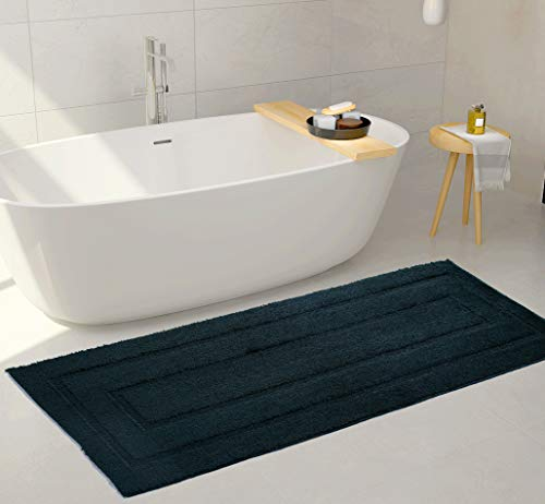 Mk Home 1pc Non-Slip Hunter Green Runner Rectangle Pattern for Bathroom with Bath Rug, Contour Mat and Lid Cover New # 66
