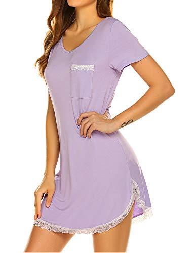 Ekouaer Sleepwear Women's Nightgown Cotton Sleep Shirt Lace Trim Short Sleeve V Nneck Sleep Tee Nightshirt Purple S