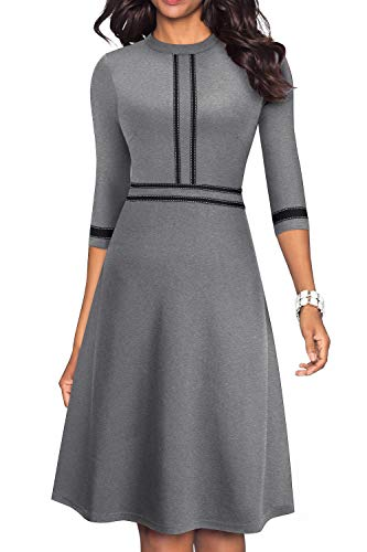 HOMEYEE Women's Chic Crew Neck 3/4 Sleeve Party Homecoming Aline Dress A135 (12, Gray)