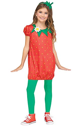 Fun World Strawberry Fun Fruit Costume, Medium 8-10, Red