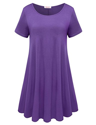 BELAROI Womens Comfy Swing Tunic Short Sleeve Solid T-Shirt Dress (S, - Dip Sleeve Short Girls
