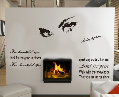For Beautiful Eyes Look For the Good in Others Audrey Hepburn Quote Wall Saying DIY Decor - Audrey Shades Hepburn