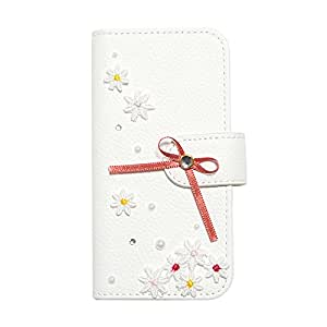 Galaxy S7 (4) flip case Diary-ribon-013 (C) Wallet Case Slim Fit Heavy Duty Protection Screen Protector Grained pattern Bow Pearl Flower Ribbon Rhinestone Verizon AT&T Sprint T-Mobile