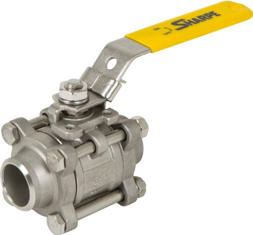 (Sharpe Valves 53036 Series Stainless Steel 316 Ball Valve, Three Piece, Inline, Lockable Lever Handle, 3/4