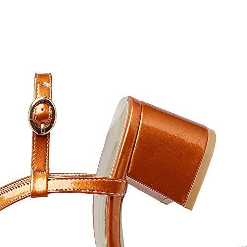 Correct TSFLH007675 Sandales Orange Boucle Femme à Unie AalarDom Couleur Verni Talon wB7gxqI